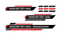 News Bar Lower Thirds Pack. Set Vector Video Strip Title Red Banner Background Overlay