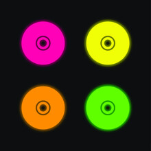 Black Compact Disc Four Color Glowing Neon Vector Icon
