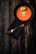 Homemade Typical Spanish Gazpacho. Tomato Soup