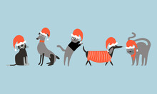 Funny Pets Like Dogs And Cats Wearing Santa Claus Hats. Christmas Vector Illustration