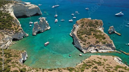 Obraz na plátně Arial drone photo of Kleftiko a beautiful scenic white volcanic rock formation b