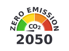 Zero Emission By 2050. Carbon Neutral. Gauge Arrow Set To Zero. Net Zero Greenhouse Gas Emissions Objective. Climate Neutral Long Term Strategy. No Toxic Gases. Vector Illustration, Flat, Clip Art.