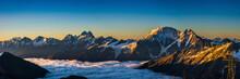 "Snowy Greater Caucasus Ridge With The Mt. Ushba At Vibrant Summer Sunrise. View From ""Bochki"" Refuge At Elbrus Ski Slope, Kabardino-Balkaria, Russia"