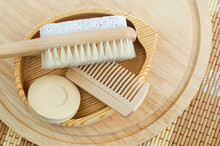 Bar Of Soap (solid Shampoo), Wooden Hair Brush And Foot Brush With Pumice Stone. Eco Friendly Toiletries Set. Natural Beauty Treatment, Skin Care Or Zero Waste Concept. Top View, Copy Space.