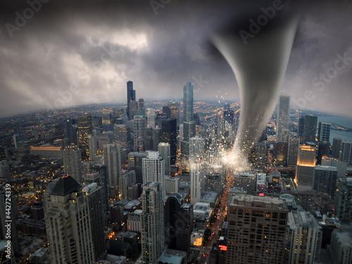 Canvas Print Tornado in einer Großstadt