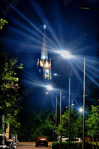 Fotografia Roman catholic church in Novi Sad at night.