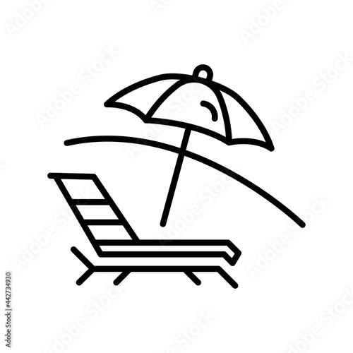 Fotografering Deck Chair Outline Vector Icon Design