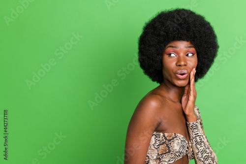 Obraz na plátne Profile photo of impressed short hairdo millennial lady look empty space wear pr