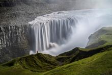 Person Staring Over Dettifoss Waterfall, Vatnajökull National Park, Iceland