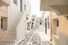 Paros Island, Greece. Whitewashed Buildings, Narrow Cobblestone Streets