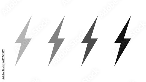 Fotografiet Set of lightning bolts isolated on a white background