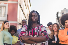 Multiethnic People Standing On Street During Black Lives Matter Protest