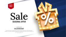 Sale Vector Banner With Golden Gift Box And Percentage Sign Retro Board Broadway Vector Illustration. Special Offer Discount On White And Blue Background
