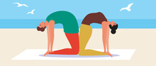 Couple Yoga, Yoga Asanas, Flat Vector Stock Illustration With Young Couple In Outdoor Or Exercising On The Beach