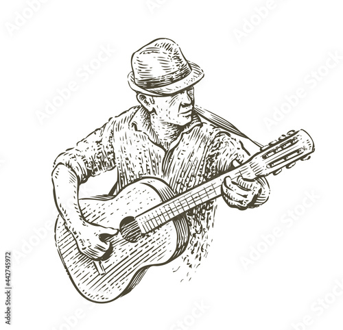 Fototapeta Man in hat playing guitar. Country music sketch in vintage style