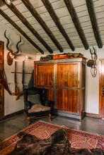 Interior Of Hunting House With Bear Fur And Stuffed Animals