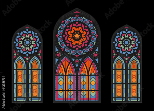 Canvas Cathedral Mosaic Windows Background
