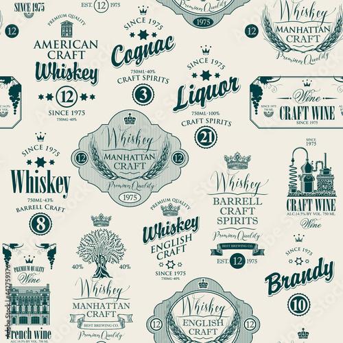 Tapety Industrialne  wektor-wzor-z-etykietami-na-rozne-napoje-alkoholowe-w-stylu-retro-monochromatyczne-powtarzajace-sie-tlo-z-rysunkami-i-napisami-whisky-alkohol-koniak-wino-brandy-wino-rzemieslnicze