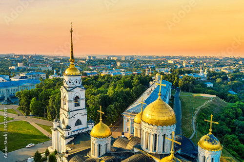 Aerial drone view of Assumption Cathedral in the city center of Vladimir with Kl Fotobehang