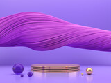 Fototapeta Przestrzenne - Abstract violet stage podium for product