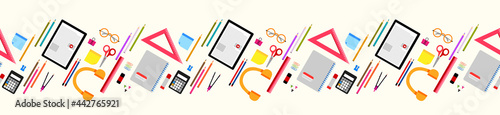 Fotografiet Back to school elements seamless horizontal border, banner pattern design  with