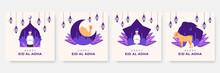 Eid Al Adha Mubarak Background. Eid Al Adha Mubarak Bakrid Festival With Goat And Mosque. Islamic Design Illustration Concept For Happy Eid Al Adha Or Sacrifice Celebration Event With People Character