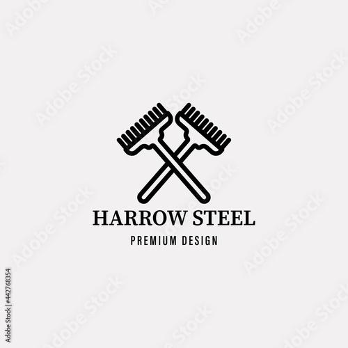 Obraz na plátne harrow steel icon minimalist vector logo line art illustration design
