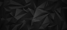 Black Dark  3d Low Poly Geometric Background .