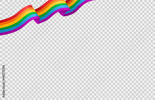 Fototapeta Waving rainbow LGBT flag isolated on png or transparent  background, Symbol of L