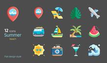 Summer Beach Flat Design Icon Set