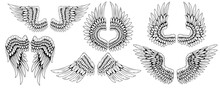 Angel Wings. Bird Wings. Design Element For Tattoo. Element For The Logo. Set Of Vintage Wings.