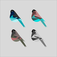 Set Of Birds. Stylized Birds. An Illustration For A Book, Children's Book, Website Or Magazine. It Will Fit As An Application Icon. Print For A T-shirt, Mug, Notebook, Diary.