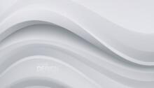White Wavy Backdrop. Abstract Minimalist Background.