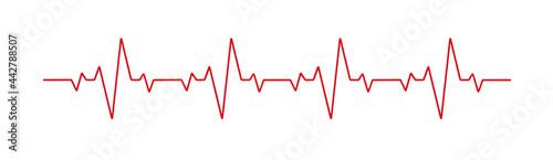 Fotografia, Obraz Heartbeat line heart cardio vector icon