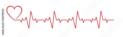 Fotografiet Heartbeat line heart cardio vector icon
