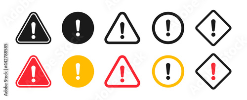 Photo Caution signs. Symbols danger and warning signs.