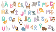 English Alphabet With Cute Cartoon Animals. Colorful Alphabet For Children. Capital Letters. Vector Illustration.