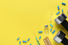 Flat Lay Of Different Drugs And Sports Equipment On Yellow Background, Space For Text. Doping Control