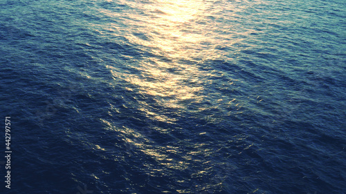 Stampa su Tela 3D rendering of ocean surface, sea with numerous waves