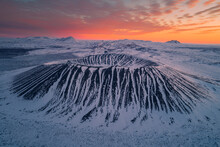 Hverfjall Volcano Crater From Aerial View At Sunrise