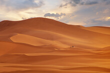 Zahara Desert On During Sunset,Morocco
