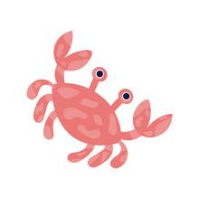Isolated Kawaii Crab Anima. Sea Life Vector Illustration