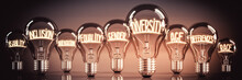 Diversity, Inclusion, Equality Concept - Shining Light Bulbs - 3D Illustration