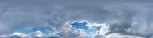 Clear Blue Sky With White Beautiful Clouds. Seamless Hdri Panorama 360 Degrees Angle View  With Zenith For Use In 3d Graphics Or Game Development As Sky Dome Or Edit Drone Shot