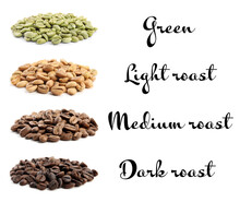 Set With Green And Roasted Coffee Beans On White Background
