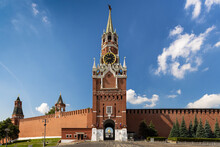 Kremlin, Moscow, Spasskaya Clock Tower, Gate Icon Of The Savior Of Smolensk. Blue Sky With Clouds.
