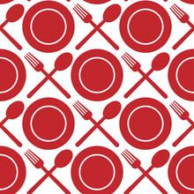 Red Plates, Spoons And Forks Isolated On White Background. Cute Monochrome Seamless Pattern. Vector Simple Flat Graphic Illustration. Texture.