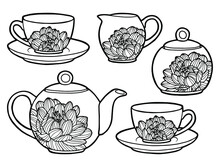 Tea Set With Floral Ornament. Coloring Page. Black Outline. Cup, Sugar Bowl, Milk Jug And Teapot Decorated With A Dahlia Flower.
