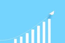 急成長する棒グラフと紙飛行機
