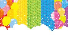 モザイクパターン 虹色の背景素材